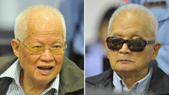 Former senior Khmer Rouge leaders Khieu Samphan and Nuon Chea pcitured in Phnom Penh in 2011.