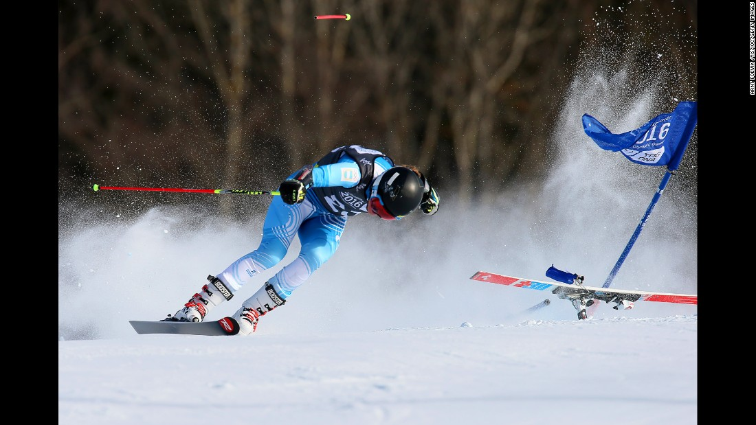 Argentina's Francesca Baruzzi Farriol loses a ski Tuesday, February 16, during a giant-slalom race at the Winter Youth Olympics. The games were held in Lillehammer, Norway.