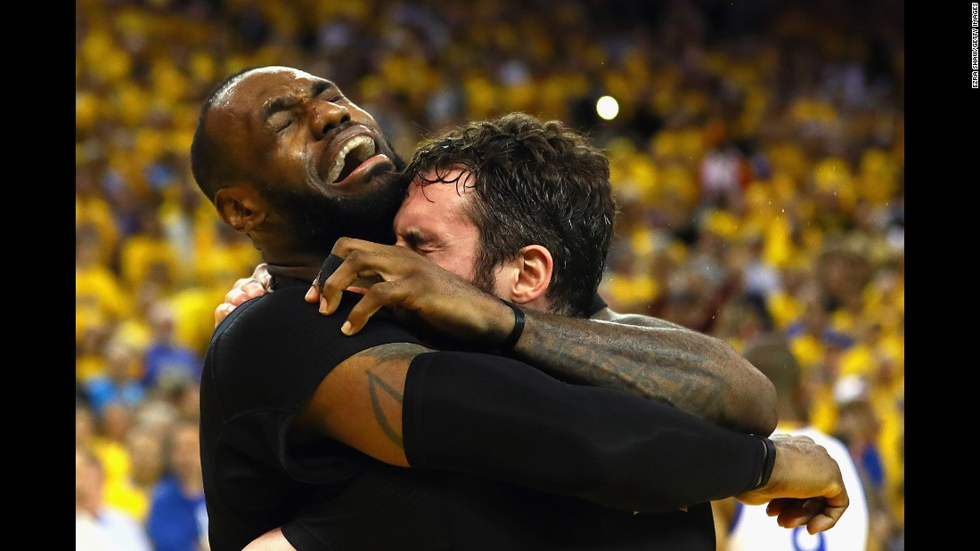 "LeBron James, left, hugs Kevin Love after the Cleveland Cavaliers <a href=""http://www.cnn.com/2016/06/19/sport/gallery/nba-finals-game-7/index.html"" target=""_blank"">won Game 7 of the NBA Finals</a> on Sunday, June 19. Cleveland defeated the Golden State Warriors 93-89 for the first championship in franchise history. It is also the city of Cleveland's first major sports title since 1964."