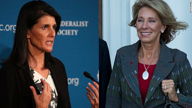 Haley, DeVos among Trump's Cabinet picks
