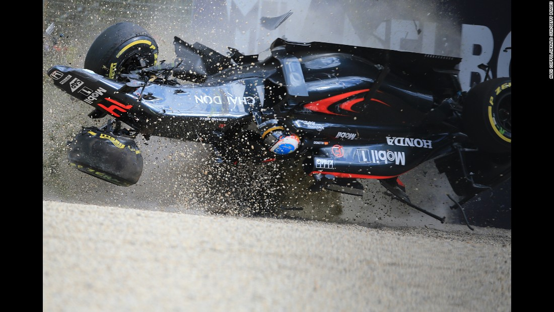 "Fernando Alonso crashes into a wall during the Australian Grand Prix on Sunday, March 20. Alonso was going 200 mph at the time of the crash, but <a href=""http://www.cnn.com/2016/03/21/motorsport/fernando-alonso-australian-grand-prix-crash/index.html"" target=""_blank"">he emerged unscathed.</a> ""I am lucky to be here and thankful to be here. It was a scary moment and a scary crash,"" he said."
