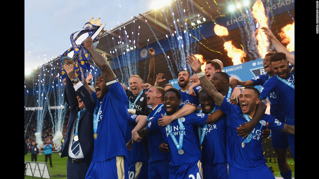 "Leicester City celebrates with the Premier League trophy after defeating Everton at home on Saturday, May 7. The English soccer club, <a href=""http://www.cnn.com/2016/05/02/football/gallery/leicester-city-wins-title/index.html"" target=""_blank"">a 5,000-to-1 long shot at the start of the season,</a> actually clinched the league title earlier in the week when second-place Tottenham failed to win against Chelsea."