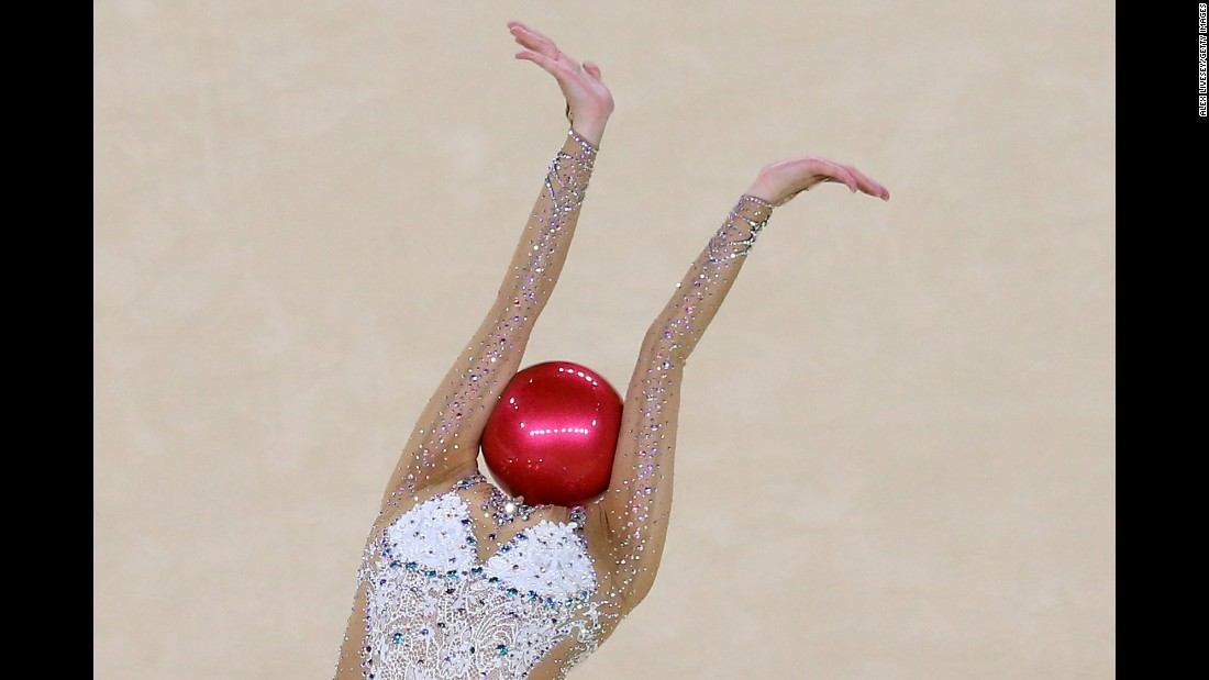 Son Yeon-jae, a rhythmic gymnast from South Korea, competes in the Olympics' individual all-around on Friday, August 19.