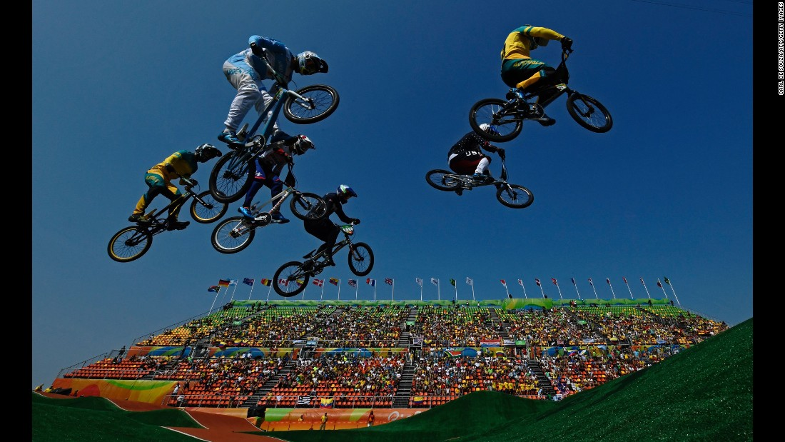 Olympians compete in the BMX quarterfinals in Rio de Janeiro on Thursday, August 18.