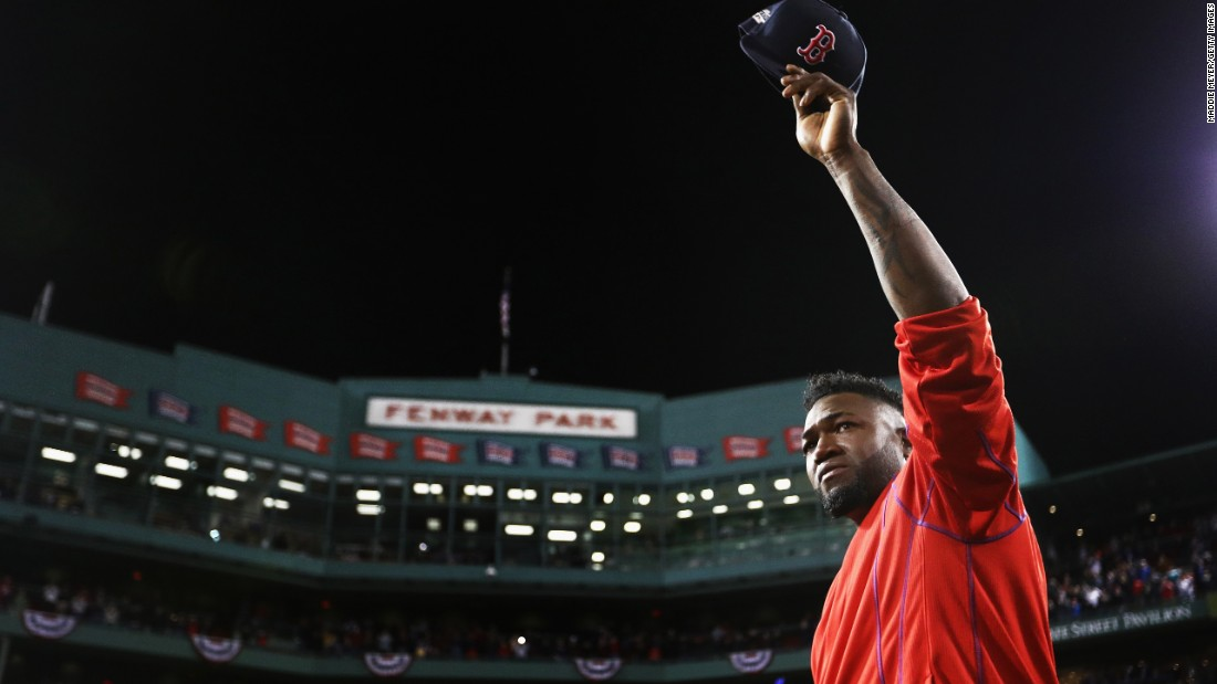 "Retiring baseball star David Ortiz tips his cap to the home fans in Boston after playing his final game on Monday, October 10. Ortiz and the Red Sox were swept by Cleveland in the American League playoffs. <a href=""http://www.cnn.com/2015/12/03/sport/gallery/sports-pictures-2015/index.html"" target=""_blank"">See 75 amazing sports photos from 2015</a>"
