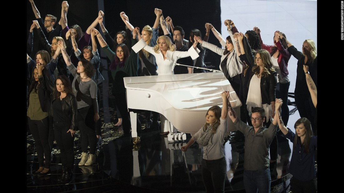 "Singer Lady Gaga is <a href=""http://www.cnn.com/2016/02/29/entertainment/lady-gaga-performance-oscars-feat/"" target=""_blank"">joined on stage by survivors of sexual assault</a> after performing her Oscar-nominated song ""Til It Happens to You"" at the Academy Awards on Sunday, February 28. The song is from ""The Hunting Ground,"" a CNN Films documentary about the recent wave of sexual assaults on American college campuses."