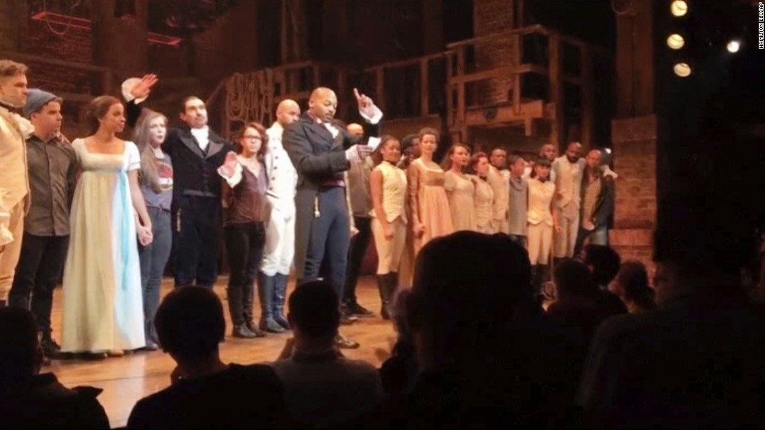 "After Vice President-elect Mike Pence saw the Broadway show ""Hamilton"" on Friday, November 18, <a href=""http://www.cnn.com/2016/11/18/politics/mike-pence-hamilton-musical/"" target=""_blank"">the cast addressed him</a> about its fears of the Trump administration. Cast member Brandon Dixon, who portrays Aaron Burr, delivered the statement during the curtain call. ""We, sir, we are the diverse America who are alarmed and anxious that your new administration will not protect us, our planet, our children, our parents or defend us and uphold our inalienable rights, sir,"" Dixon said. ""But we truly hope this show has inspired you to uphold our American values and work on behalf of all of us. All of us."""