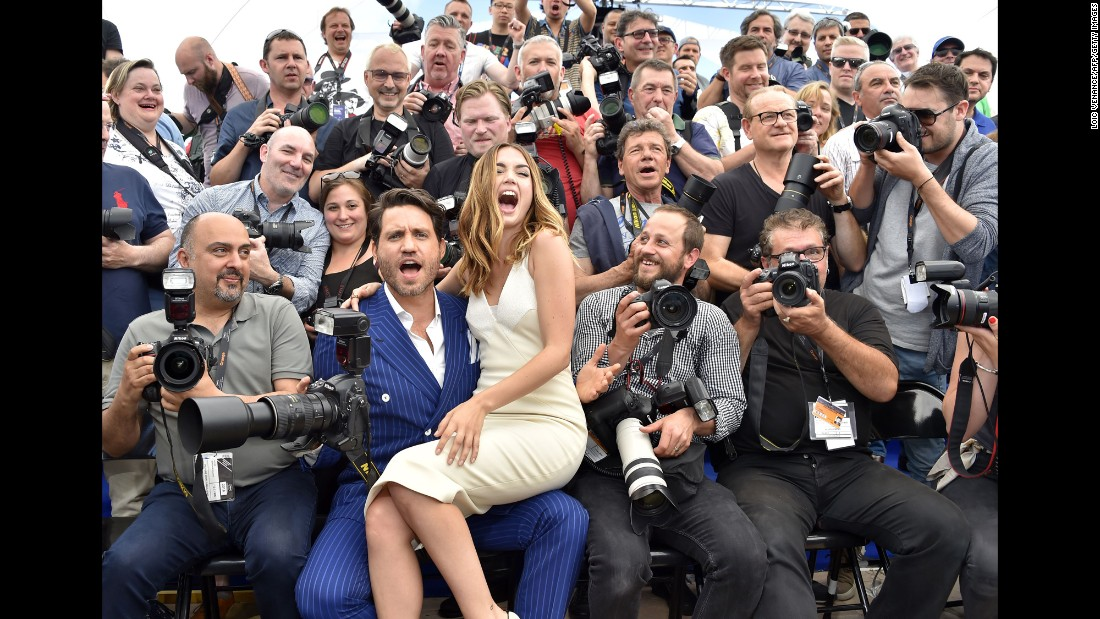 "Actors Edgar Ramirez and Ana de Armas pose among photographers at the Cannes Film Festival as they promote the film ""Hands of Stone"" on Monday, May 16."