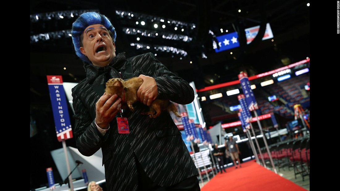 "Talk-show host Stephen Colbert performs on the floor of the Republican National Convention during a taping of his program on Sunday, July 17. Colbert <a href=""http://www.cnn.com/2016/07/25/politics/stephen-colbert-democratic-national-convention/"" target=""_blank"">played ""Hunger Games"" character Caesar Flickerman</a> at both the Republican and Democratic conventions."