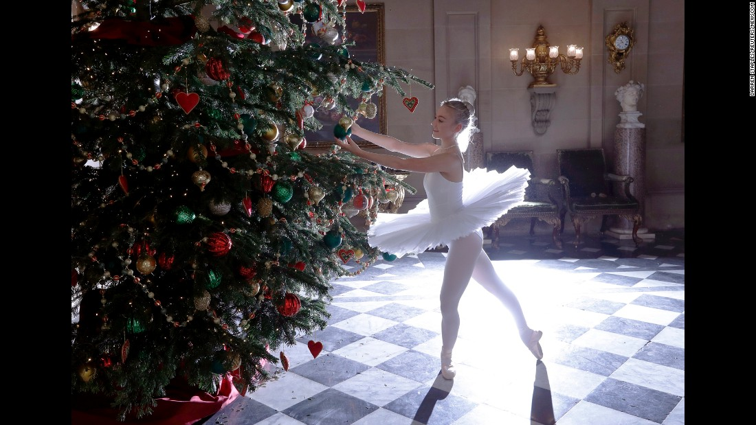 "Dancer Daisy Kerry poses as the Snow Queen from ""The Nutcracker"" during the annual Christmas event at Chatsworth House in Derbyshire, England, on Friday, November 4."