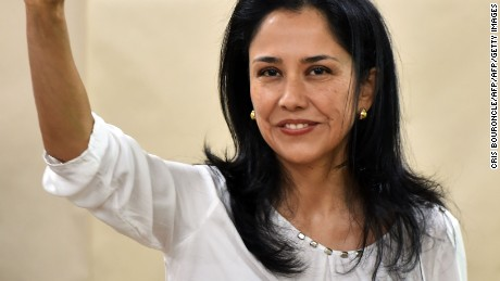 Peruvian First Lady Nadine Heredia gestures after voting in Lima during general elections on April 10, 2016.  Almost 23 million Peruvians in Peru and abroad are expected to decide whether Keiko Fujimori, daughter of an ex-president jailed for massacres, should become their first female head of state in an election marred by alleged vote-buying and guerrilla attacks that killed four. / AFP / CRIS BOURONCLE        (Photo credit should read CRIS BOURONCLE/AFP/Getty Images)