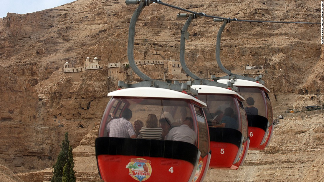 Cable cars lead tourists to the Orthodox Christian monastery of the Temptation in Jericho, which is one of the oldest cities in the world. There is evidence of settlement there dating back to 9000 BC and urban fortifications dating back to 7000 BC, predating Egypt's pyramids by 4,000 years.