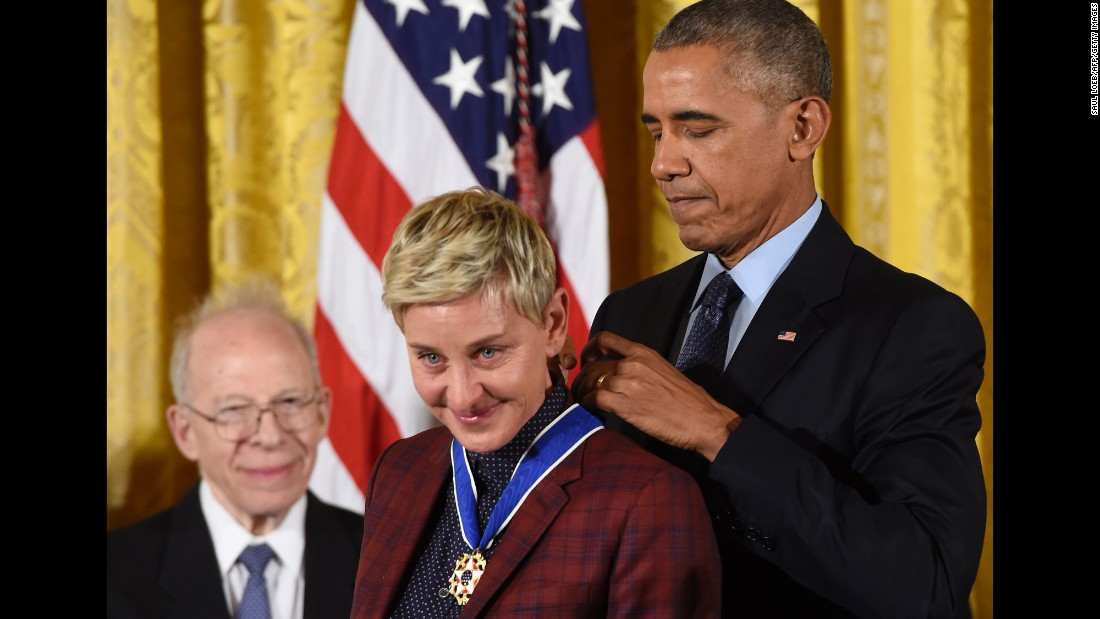 "US President Barack Obama presents talk-show host Ellen DeGeneres with the Presidential Medal of Freedom, the nation's highest civilian honor, on Tuesday, November 22. During Tuesday's ceremony at the White House, Obama <a href=""http://www.cnn.com/2016/11/22/politics/medal-of-freedom-moments/"" target=""_blank"">gave the medal to 21 people, </a>including actors Robert De Niro and Tom Hanks and basketball legends Michael Jordan and Kareem Abdul-Jabbar."