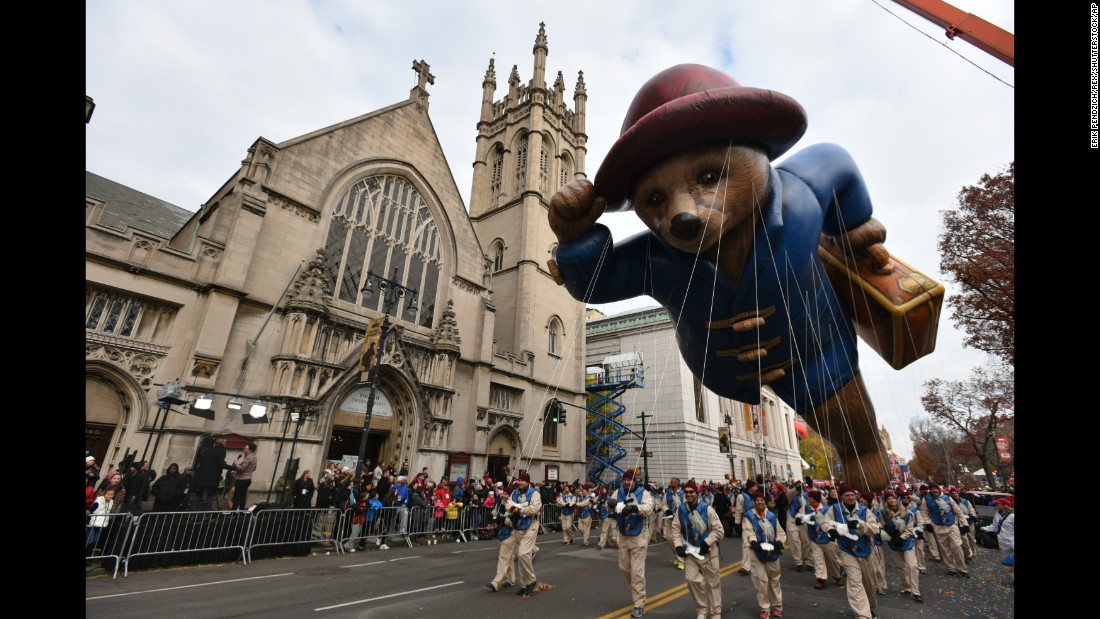 Paddington Bear floats over a New York street during the annual Macy's Thanksgiving Day Parade in 2016.