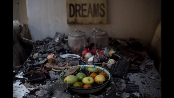 Inside a burned house in Haifa on November 25.