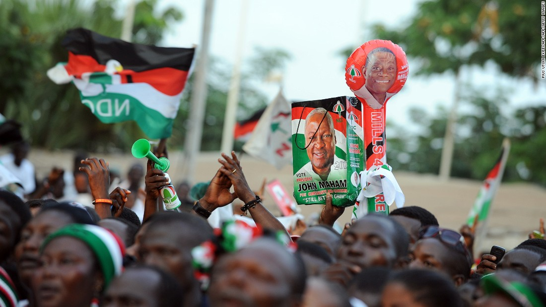 Almost 70% of Ghanaians believe political parties and/or candidates are likely to engage in vote buying, according to CDD-Ghana. <br /><br />Pictured: Supporters cheer President Mahama during a rally in Accra in December 2012.