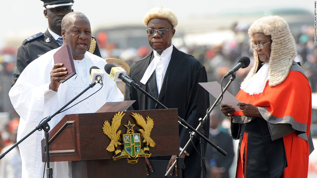 The election is expected to be tight between the ruling National Democratic Congress (NDC) and the largest opposition, New Patriotic Party (NPP). Ghana's current president, John Dramani Mahama, in office since 2012, is seeking re-election. <br /><br />Pictured: President Mahama takes an oath of office at Independence Square, in Accra, January 2013.