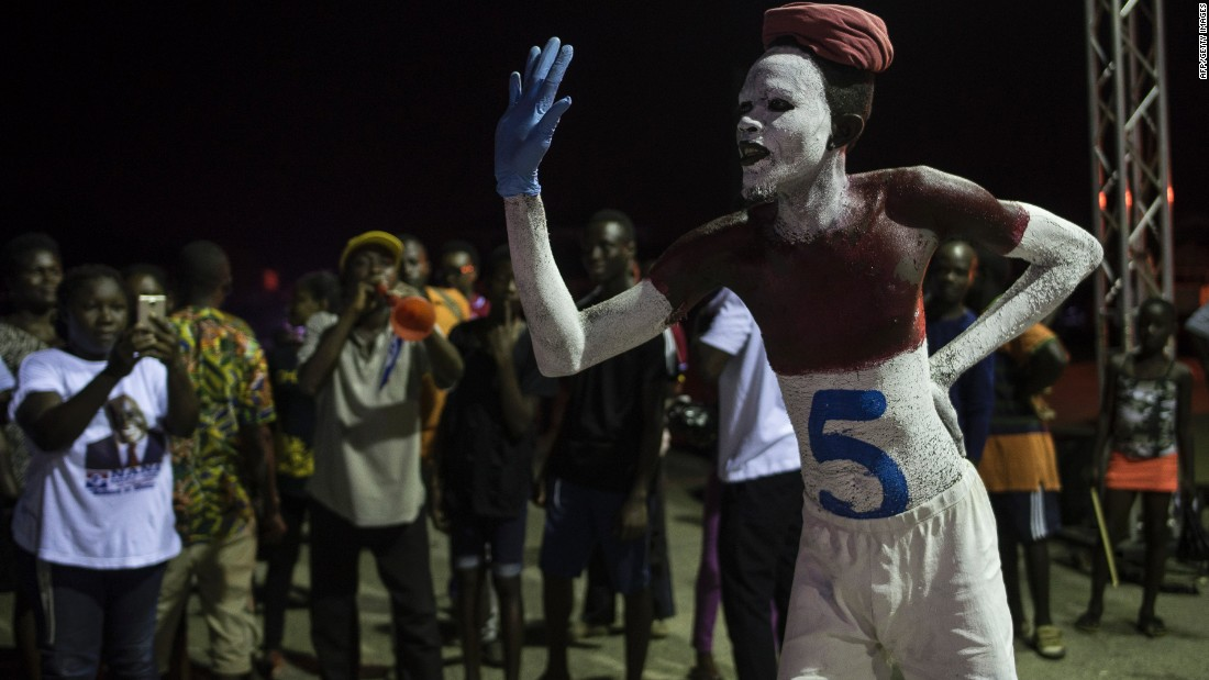 However, CDD-Ghana notes that a small majority of Ghanaians (51%) are convinced that political parties and/or candidates are likely to ignore electoral laws. <br />Pictured: An NPP supporter with number 5 painted on his body, referring to the position occupied by the party on the electoral roll, takes part in a prayer vigil in Koforidua on November 16, 2016.<br /><br />