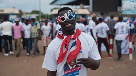 A supporter of Ghana's largest opposition party New Patriotic Party (NPP) gestures at the party manifesto launch in Accra on October 9, 2016. General elections are due in December 2016. / AFP / STEFAN HEUNIS        (Photo credit should read STEFAN HEUNIS/AFP/Getty Images)
