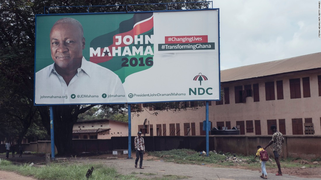President Mahama and Akufo Addo's 2016 campaigns featured specific promises to the regions they visited -- such as creation of additional administrative regions and districts -- according to CDD-Ghana. <br /><br />Pictured: President Mahama's campaign billboard in the streets of Accra.