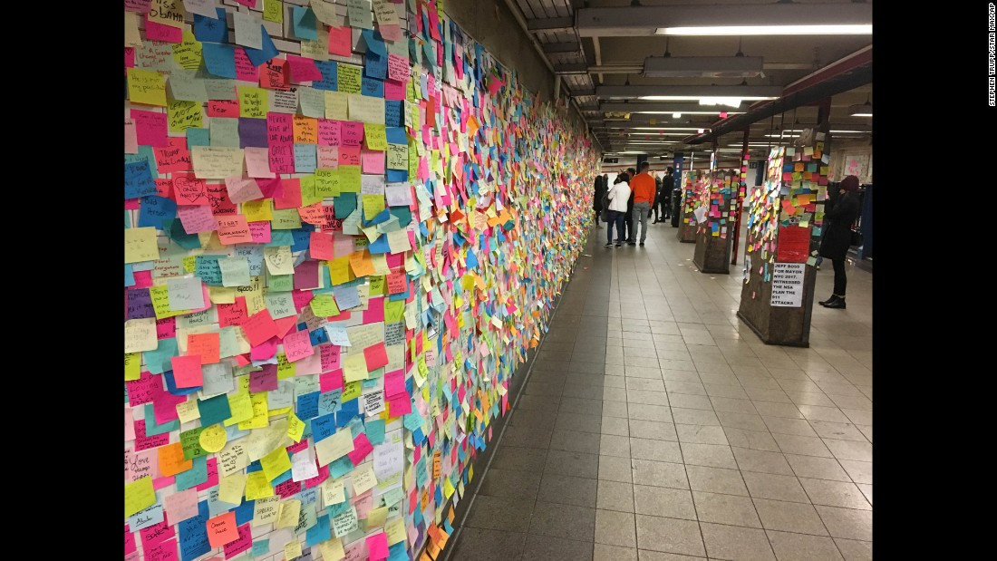 "Sticky notes about President-elect Donald Trump, the recent election and the country are spread across the Union Square subway station in New York on Thursday, November 24. Some people have been describing it as <a href=""http://www.cnn.com/2016/11/10/us/acts-of-kindness-election-trnd/"" target=""_blank"">""Subway Therapy.""</a>"