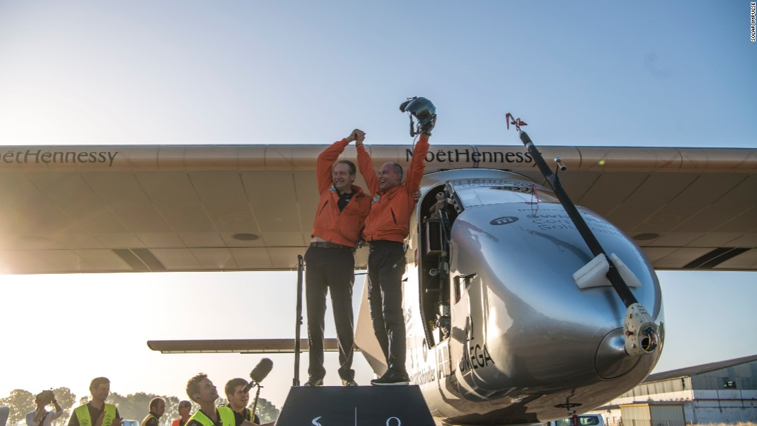 Just a month away from completing the journey, the pilots celebrate landing in Seville, Spain, after a three-day crossing of the Atlantic. Solar Impulse 2 was the first solar-powered plane to cross the Atlantic Ocean, recording the greatest distance traveled (5,739km) and highest altitude reached (8,535m) by a solar plane in the process.