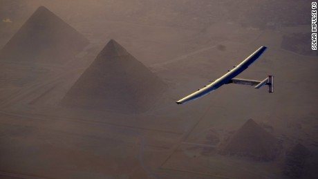 Cairo, Egypt, July 13th 2016: Solar Impulse successfully landed in Cairo after 2 days of flight with André Borschberg at the controls. Departed from Abu Dhabi on march 9th 2015, the Round-the-World Solar Flight will take 500 flight hours and cover 35000 km. Swiss founders and pilots, Bertrand Piccard and André Borschberg hope to demonstrate how pioneering spirit, innovation and clean technologies can change the world. The duo will take turns flying Solar Impulse 2, changing at each stop and will fly over the Arabian Sea, to India, to Myanmar, to China, across the Pacific Ocean, to the United States, over the Atlantic Ocean to Southern Europe or Northern Africa before finishing the journey by returning to the initial departure point. Landings will be made every few days to switch pilots and organize public events for governments, schools and universities.