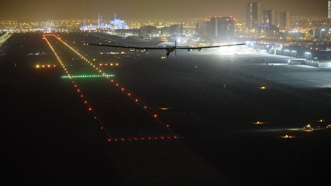 Piccard touches down the plane in Abu Dhabi, completing a journey of more than 500 flying hours in total.