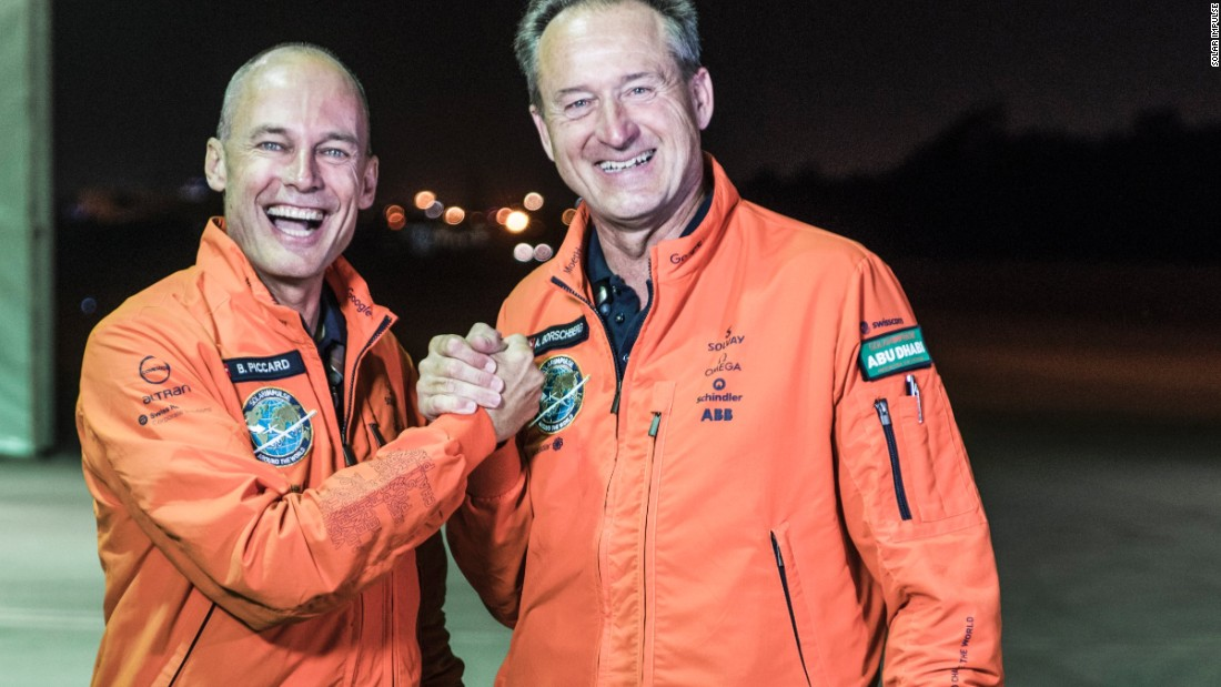 André Borschberg (right) and Bertrand Piccard piloted the first ever solar-powered plane around the world. The pair covered 43,041 kilometers and spent 23 days in the air. They made landings every few days, taking turns to fly the plane while also attending public events at governments, schools and universities.