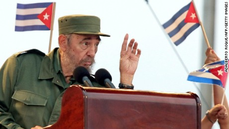 Cuban President Fidel Castro delivers a speech during a public gathering in Havana, 20 May 2005. Cuban dissidents launched a bold first pro-democracy conference tpday, defying communist President Castro, whose government expelled 13 would-be observers from Europe. Castro, 78, has slammed the meeting, charging the so-called National Congress - the first of its kind aimed at launching democratic transition plans - is funded by the United States.    AFP PHOTO/Adalberto ROQUE (Photo credit should read ADALBERTO ROQUE/AFP/Getty Images)