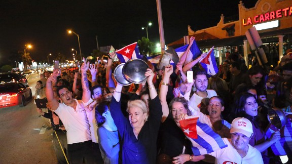 Those out on the streets of Miami include Cuban-Americans of all ages. Some Cuban exiles have waited years to mark this moment.