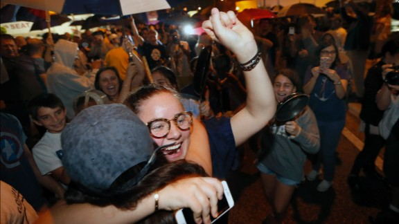 Cuban-Americans celebrate in Miami's Little Havana, the center of the Cuban exile community in the United States.