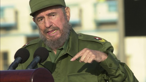 Cuban President Fidel Castro gives a speech in front of the U.S. Interest Section May 14, 2004 in Havana. Castro died on Friday, November 25, 2016.