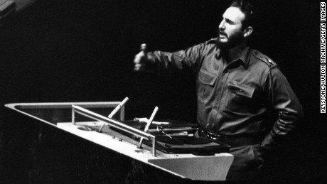Cuban President Fidel Castro addressing the United Nations General Assembly in New York in 1960. Castro dies in Friday, November 25, 2016.