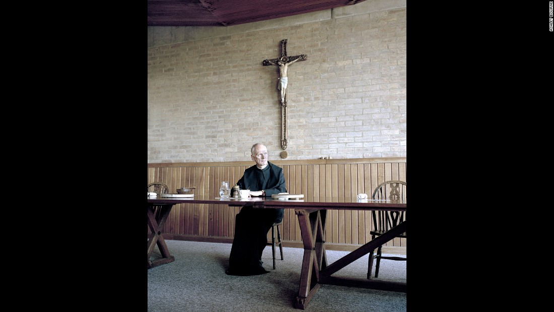 Father Leo pauses in Downside Abbey. Bourne shot entirely on film, and he said he had to use a tripod often because the monasteries can be quite dark.