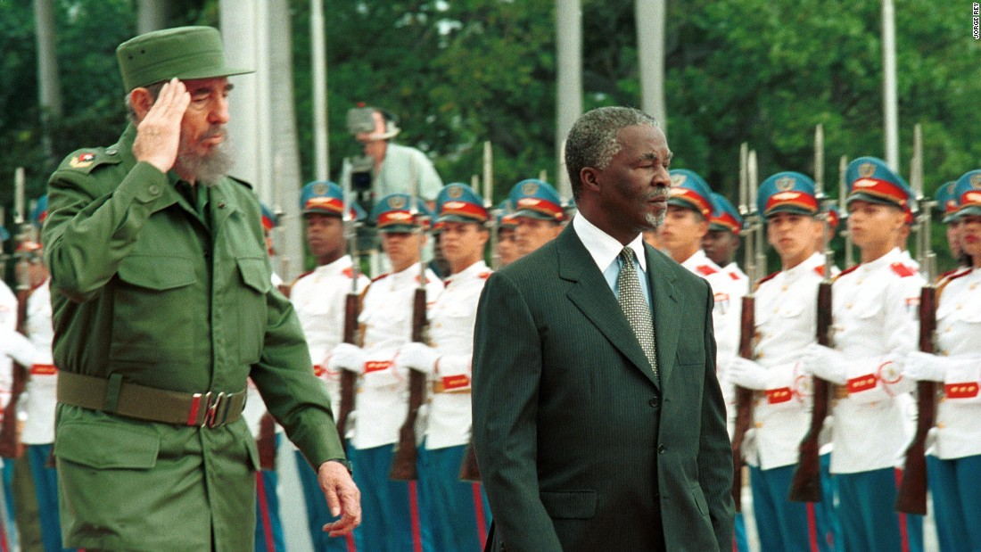 Castro and South African President Thabo Mbeki review the presidential guard at the Revolution Palace on March 27, 2001
