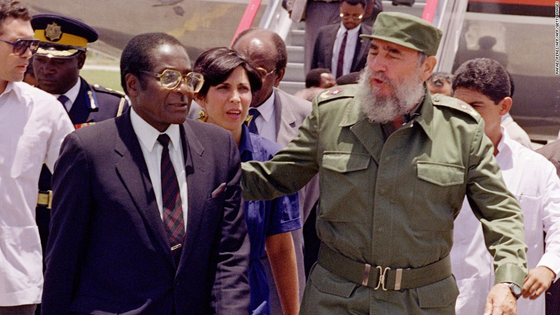 Zimbabwe's President Robert Mugabe is greeted by Castro in Havana, Cuba on 08 June 1992