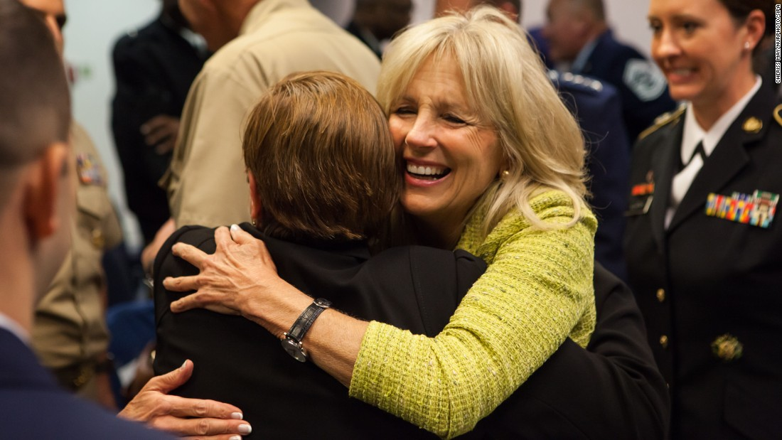 In the Hall of Heroes at the Pentagon, Jill Biden takes part in a ceremony signing a memorandum of understanding between the National Guard Bureau and Give an Hour in support of the emotional well-being of Guard members and their families. The ceremony took place Monday, Nov. 21.
