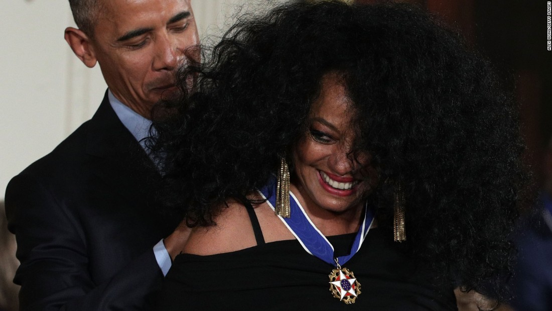 "US President Barack Obama presents singer Diana Ross with the Presidential Medal of Freedom, the nation's highest civilian honor, on Tuesday, November 22. During <a href=""http://www.cnn.com/2016/11/22/politics/medal-of-freedom-moments/"" target=""_blank"">Tuesday's ceremony</a> at the White House, Obama gave the medal to 21 people, including actors Robert De Niro and Tom Hanks and basketball legends Michael Jordan and Kareem Abdul-Jabbar."