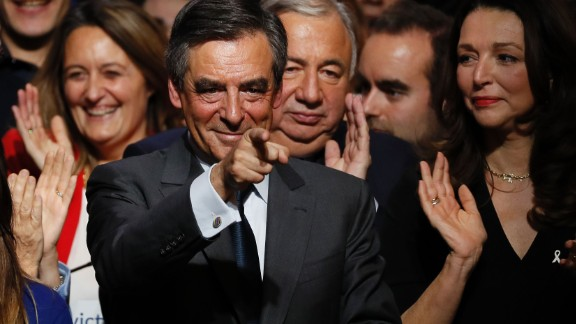 Francois Fillon after giving a speech at a campaign rally in Paris on Friday.