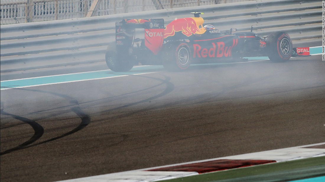 Red Bull's Max Verstappen comes to a halt after spinning on lap one of the Abu Dhabi Grand Prix. The Dutch teen recovered to finish fourth.