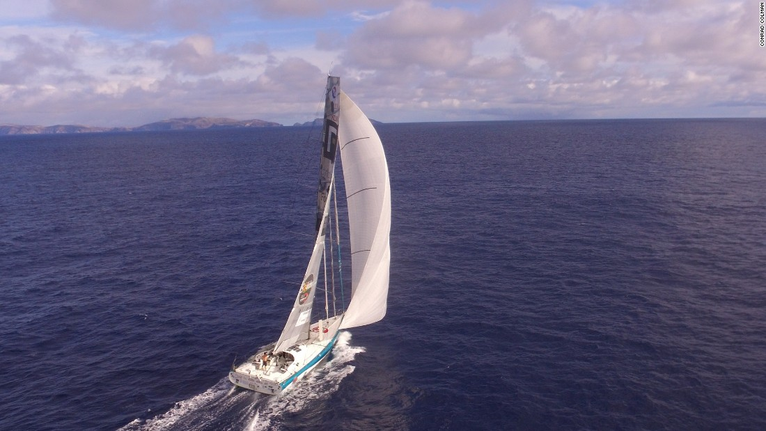 The drone is in action again to capture this view of the boat off Madeira itself.