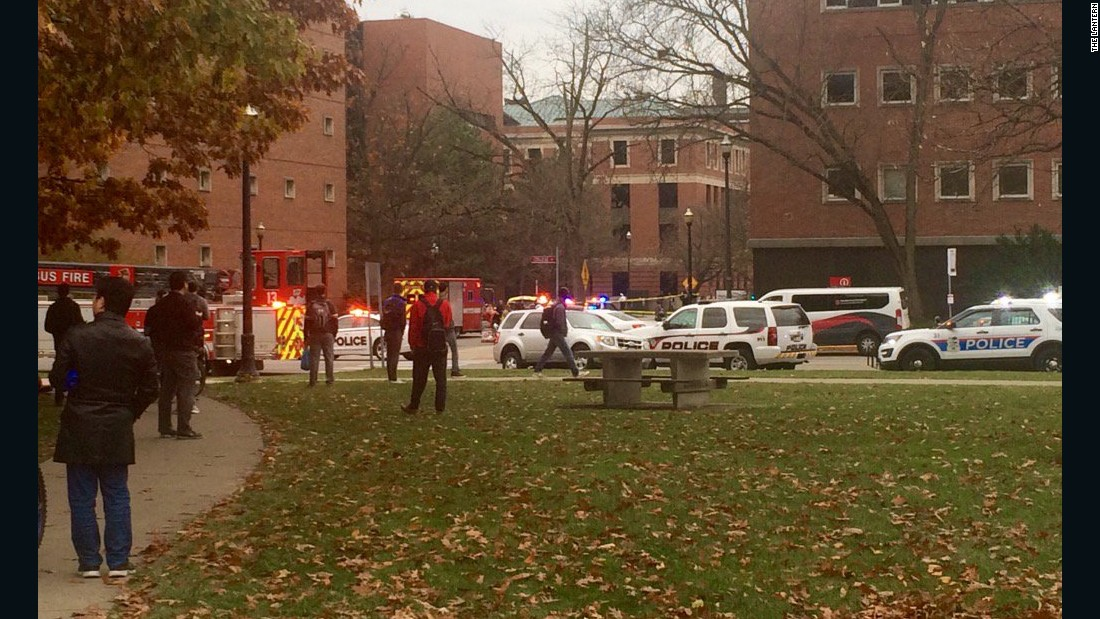 """Police cars, fire truck and ambulance line 19th and College avenues near location where active shooter was reported,"" <a href=""https://twitter.com/TheLantern/status/803253398179082240"" target=""_blank"">The Lantern tweeted.</a>"