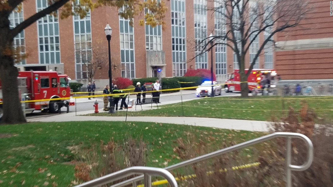 """Police are continuing to secure the area,"" The Lantern tweeted with this photo. ""Follow @OSUPOLICE for updates."""