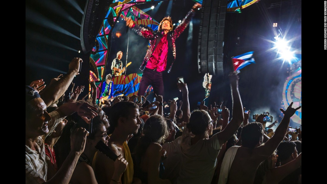 "People attend <a href=""http://www.cnn.com/2016/03/26/entertainment/cuba-rolling-stones-concert/"" target=""_blank"">a free Rolling Stones concert</a> in Havana, Cuba, on Friday, March 25. It was the first time that a major international rock band played in Cuba. For years after the Cuban revolution, rock music was banned on Cuban state TV and radio."