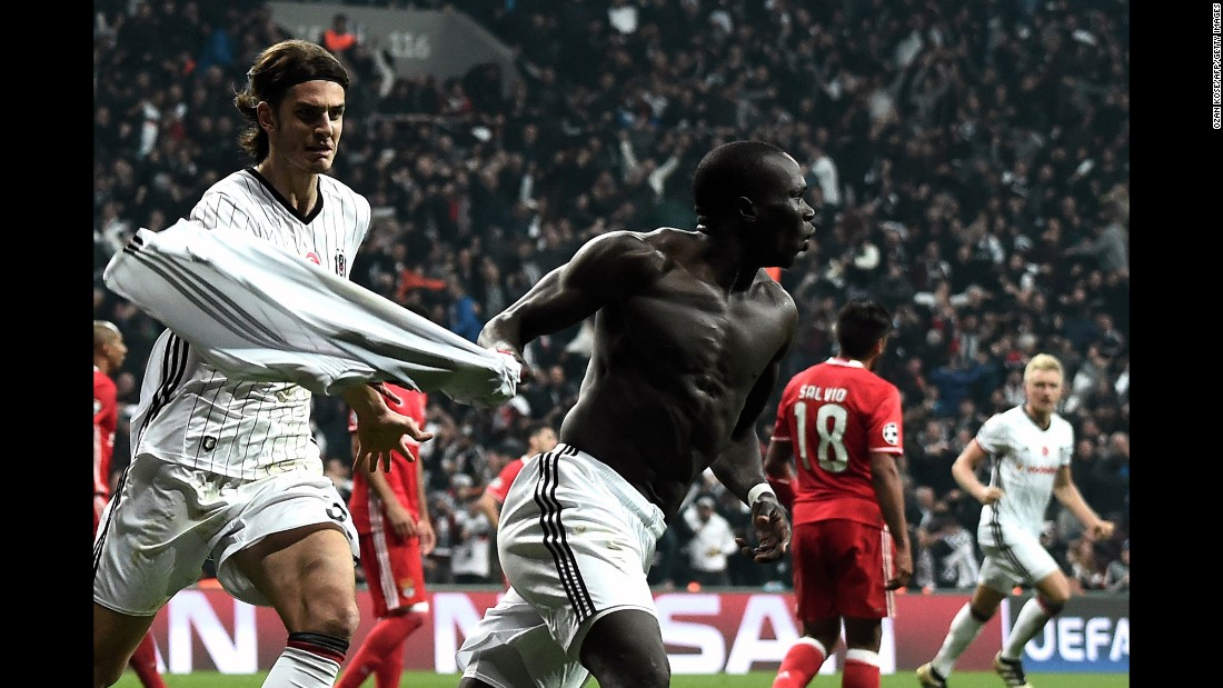 Besiktas striker Vincent Aboubakar celebrates his 89th-minute goal against Benfica during a Champions League match in Istanbul on Wednesday, November 23. Benfica led 3-0 at halftime, but the Turkish club roared back for a 3-3 draw.