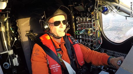 Betrand Piccard at the controls of Solar Impulse 2.