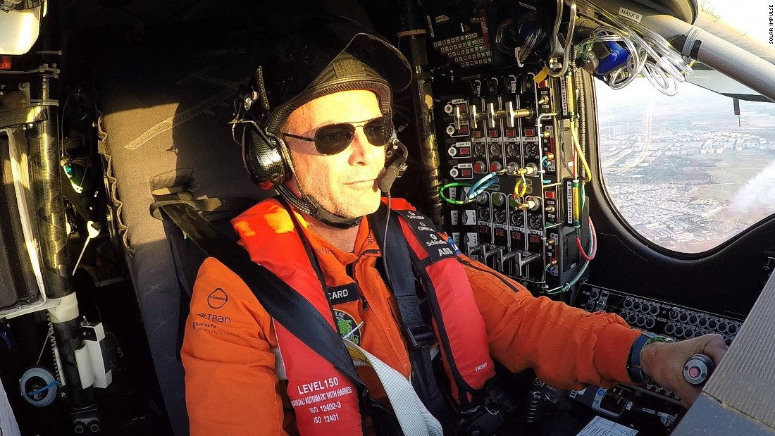 Bertrand Piccard at the controls of Solar Impulse during his recent record-breaking flight.