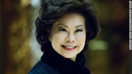 Former US Secretary of Labor Elaine Chao arrives at Trump Tower on another day of meetings scheduled with President-elect Donald Trump on November 21, 2016 in New York.