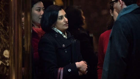 Seema Verma, president and founder of SVC Inc., gets into an elevator as she arrives at Trump Tower on November 22, 2016 in New York City.